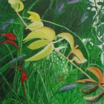 photograph of my jungle dreams painting created in acrylics using predominatly greens yellows reds blues and whote