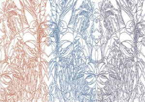 photograph of painting leaves designs imaginary landscape - penwork multicoloured