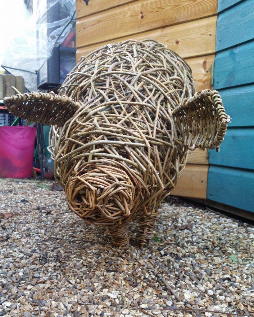 pig willow sculpture created by jacqueline rolls