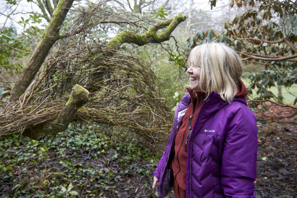 Photo of Artist Jacqueline Rolls working at Furzey Gardens. Photographer Nick Carter