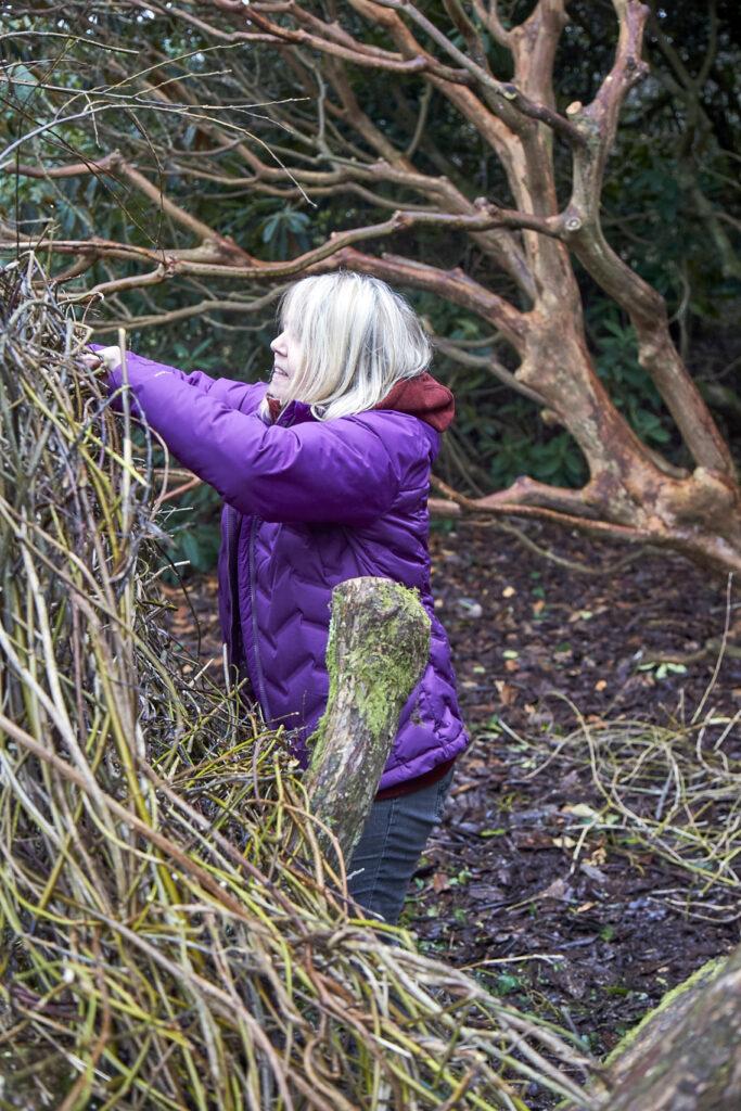 Artist Jacqueline Rolls working at Furzey Gardens (2) . Photographer Nick Carter
