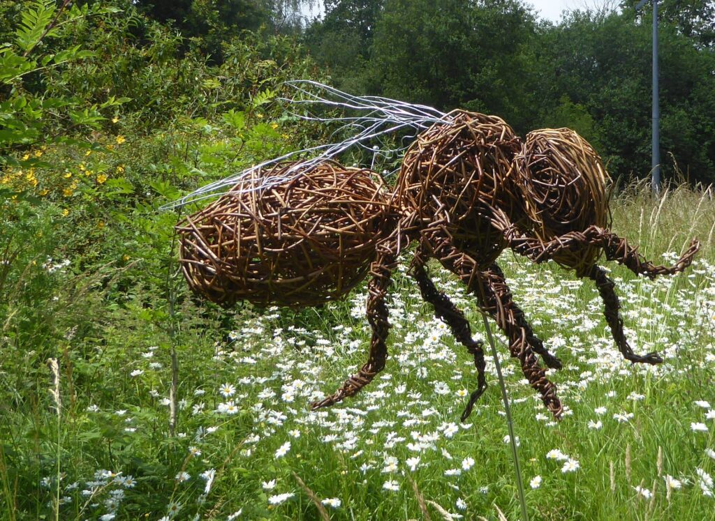 honey bee willow sculpture in meadow with daisy's , it has metal wire wings it is on a metal pole so that it can move kin the breeze