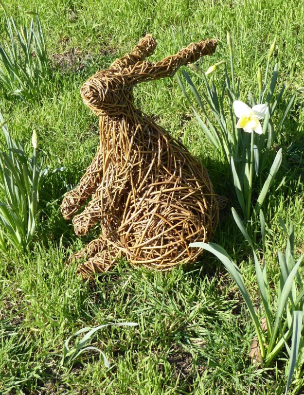 willow hare sculpure sitting on grass slope next to dafododil